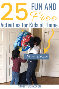 easy indoor activities for kids and children at home with a no spend challenge